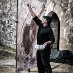 Nacho pintando en la Bienal de Rabel celebrada en el Castillo de Argüeso